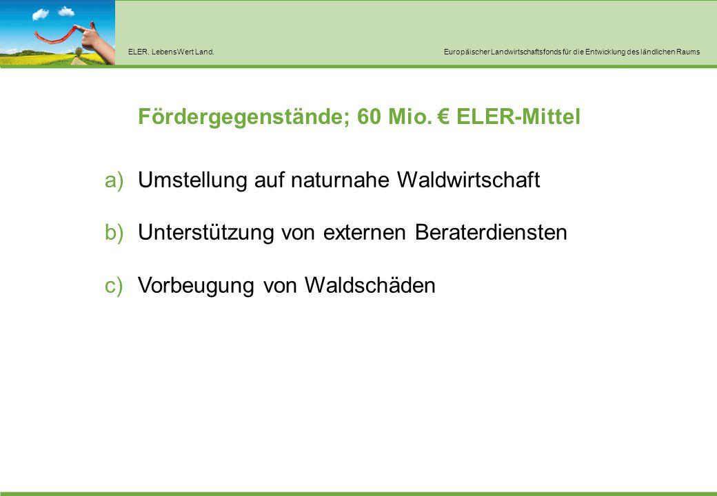 ELER. LebensWert Land.Europäischer Landwirtschaftsfonds für die Entwicklung des ländlichen Raums Fördergegenstände; 60 Mio. € ELER-Mittel a)Umstellung