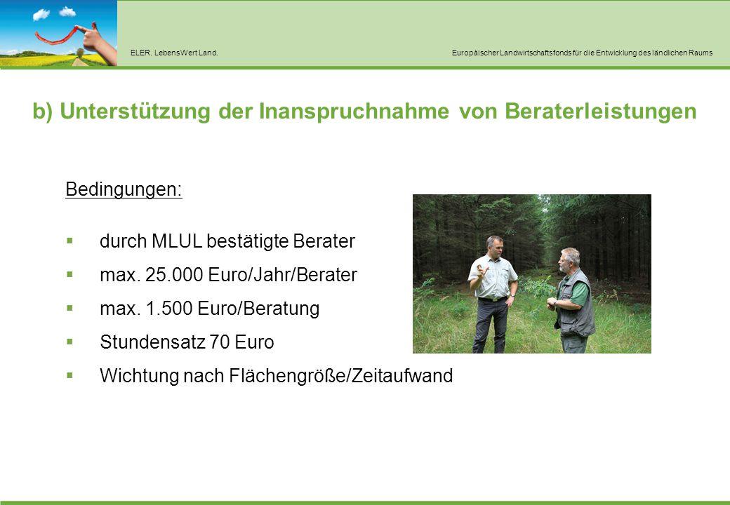 ELER. LebensWert Land.Europäischer Landwirtschaftsfonds für die Entwicklung des ländlichen Raums b) Unterstützung der Inanspruchnahme von Beraterleist