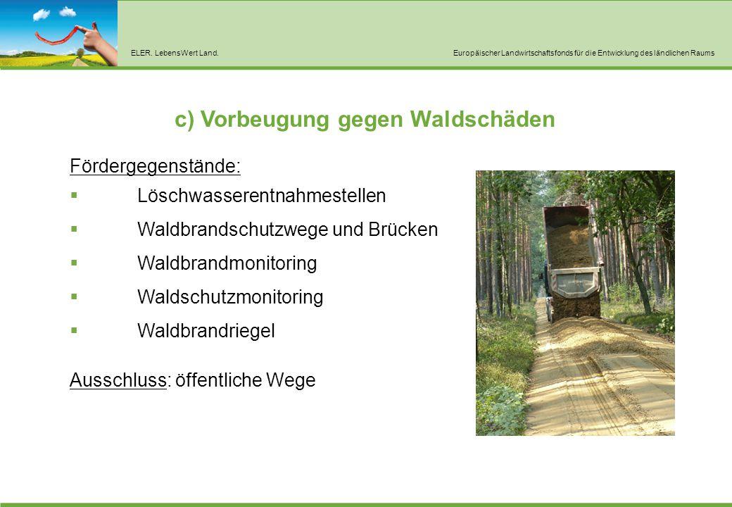 ELER. LebensWert Land.Europäischer Landwirtschaftsfonds für die Entwicklung des ländlichen Raums c) Vorbeugung gegen Waldschäden Fördergegenstände: 