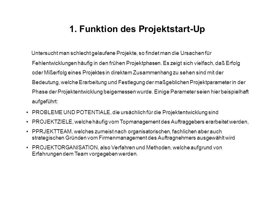 1. Funktion des Projektstart-Up Untersucht man schlecht gelaufene Projekte, so findet man die Ursachen für Fehlentwicklungen häufig in den frühen Proj