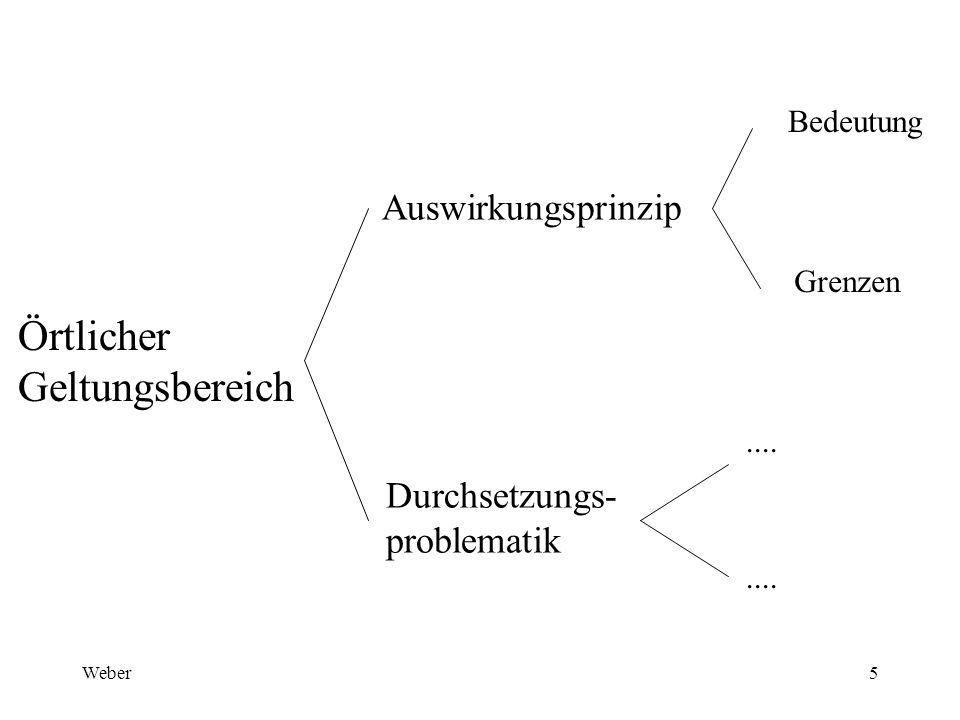 Weber5 Örtlicher Geltungsbereich Auswirkungsprinzip Durchsetzungs- problematik Bedeutung Grenzen....