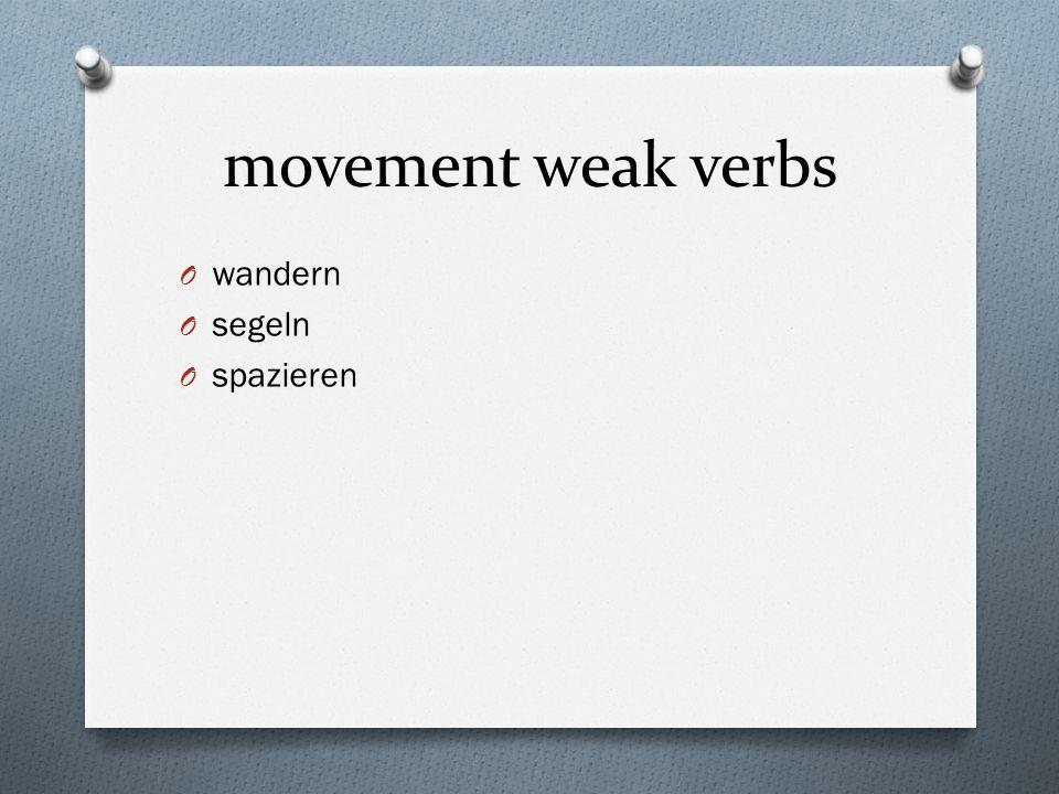 movement weak verbs O wandern O segeln O spazieren