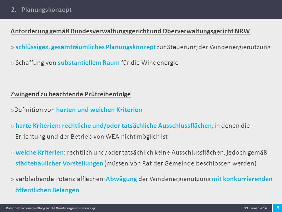 8 Potenzialflächenermittlung für die Windenergie in Kranenburg 23. Januar 2014 2. Planungskonzept Anforderung gemäß Bundesverwaltungsgericht und Oberv