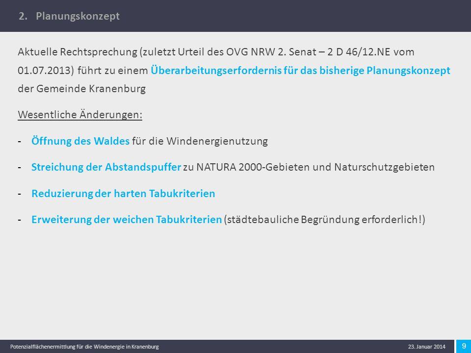 9 Potenzialflächenermittlung für die Windenergie in Kranenburg 23. Januar 2014 2. Planungskonzept Aktuelle Rechtsprechung (zuletzt Urteil des OVG NRW