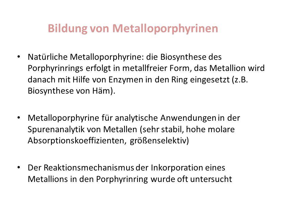 Bildung von Metalloporphyrinen Natürliche Metalloporphyrine: die Biosynthese des Porphyrinrings erfolgt in metallfreier Form, das Metallion wird danac