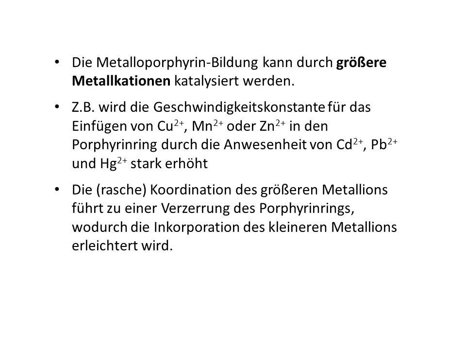 Die Metalloporphyrin-Bildung kann durch größere Metallkationen katalysiert werden. Z.B. wird die Geschwindigkeitskonstante für das Einfügen von Cu 2+,