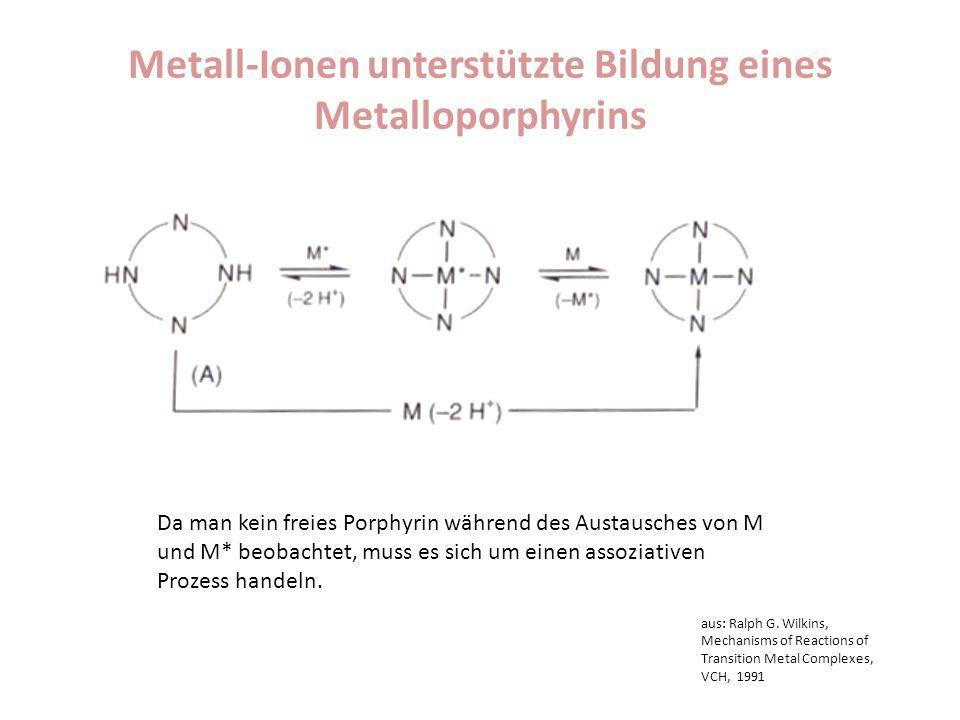 Metall-Ionen unterstützte Bildung eines Metalloporphyrins Da man kein freies Porphyrin während des Austausches von M und M* beobachtet, muss es sich u