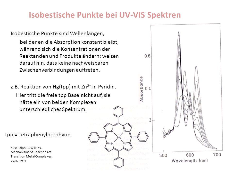 Isobestische Punkte bei UV-VIS Spektren Isobestische Punkte sind Wellenlängen, bei denen die Absorption konstant bleibt, während sich die Konzentratio