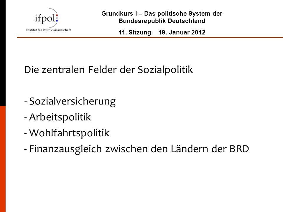 Grundkurs I – Das politische System der Bundesrepublik Deutschland 11. Sitzung – 19. Januar 2012 Die zentralen Felder der Sozialpolitik - Sozialversic