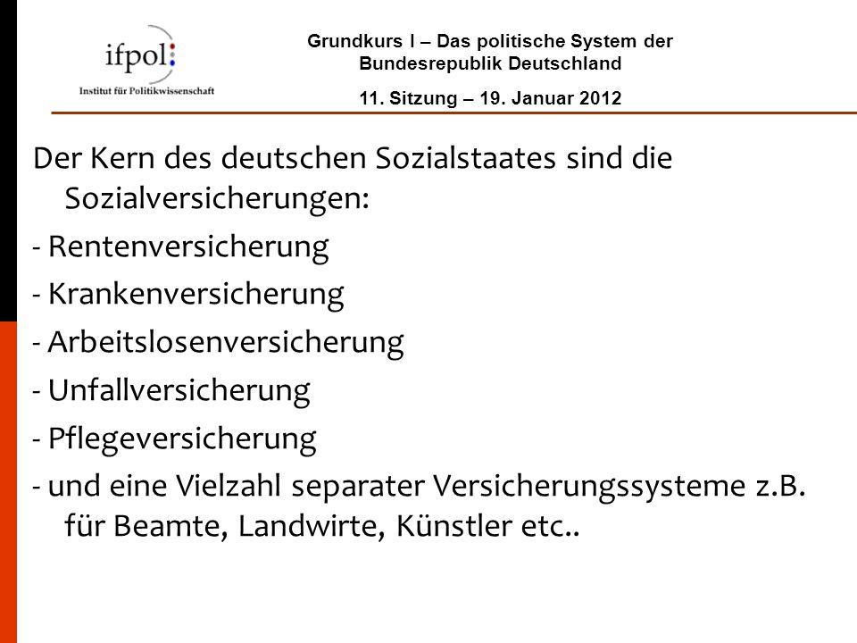 Grundkurs I – Das politische System der Bundesrepublik Deutschland 11. Sitzung – 19. Januar 2012 Der Kern des deutschen Sozialstaates sind die Sozialv