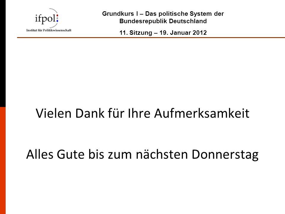 Grundkurs I – Das politische System der Bundesrepublik Deutschland 11. Sitzung – 19. Januar 2012 Vielen Dank für Ihre Aufmerksamkeit Alles Gute bis zu