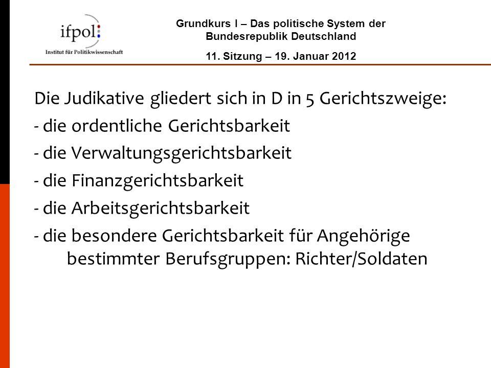 Grundkurs I – Das politische System der Bundesrepublik Deutschland 11. Sitzung – 19. Januar 2012 Die Judikative gliedert sich in D in 5 Gerichtszweige