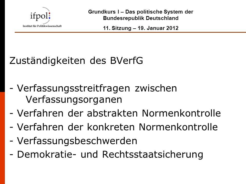 Grundkurs I – Das politische System der Bundesrepublik Deutschland 11. Sitzung – 19. Januar 2012 Zuständigkeiten des BVerfG - Verfassungsstreitfragen