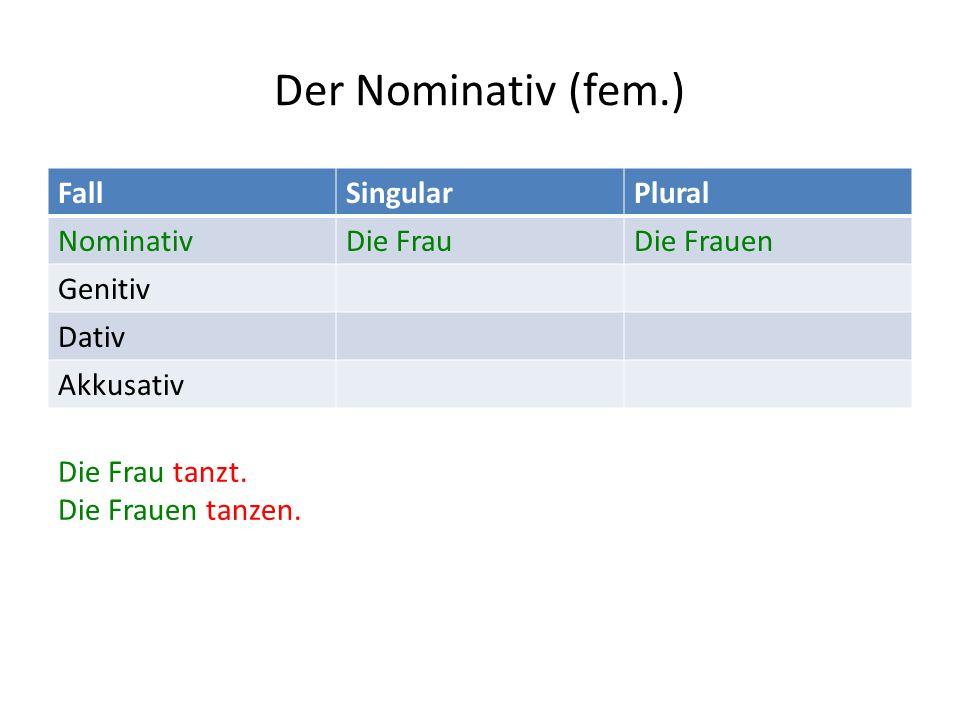 Der Nominativ (fem.) FallSingularPlural NominativDie FrauDie Frauen Genitiv Dativ Akkusativ Die Frau tanzt.