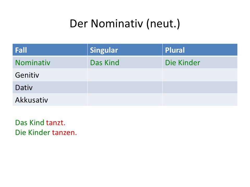 Der Nominativ (neut.) FallSingularPlural NominativDas KindDie Kinder Genitiv Dativ Akkusativ Das Kind tanzt.