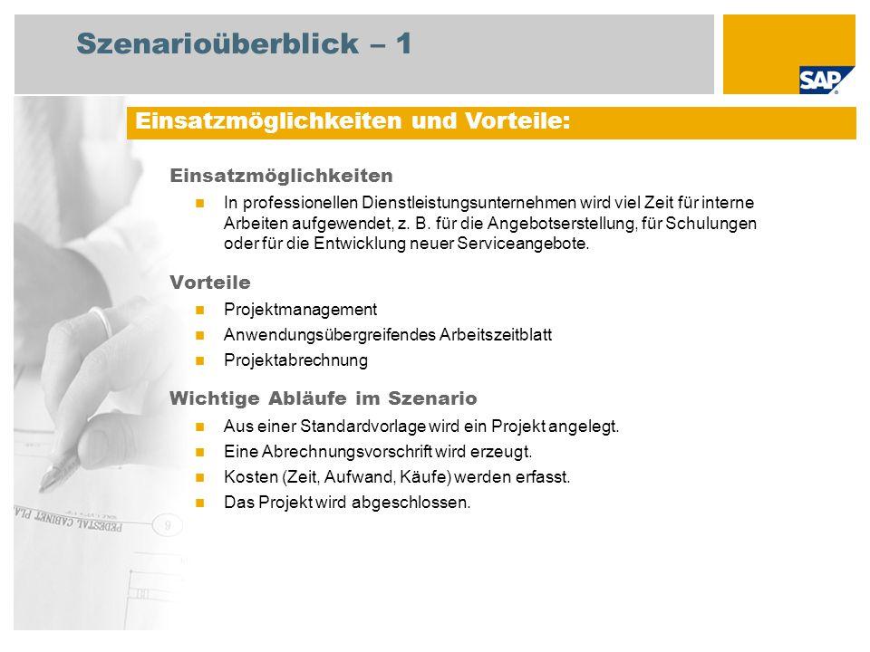 Szenarioüberblick – 2 Erforderlich SAP enhancement package 4 for SAP ERP 6.0 An den Abläufen beteiligte Benutzerrollen Projektleiter (normaler Benutzer) Projektleiter (Hauptbenutzer) Servicemitarbeiter Erforderliche SAP-Anwendungen: