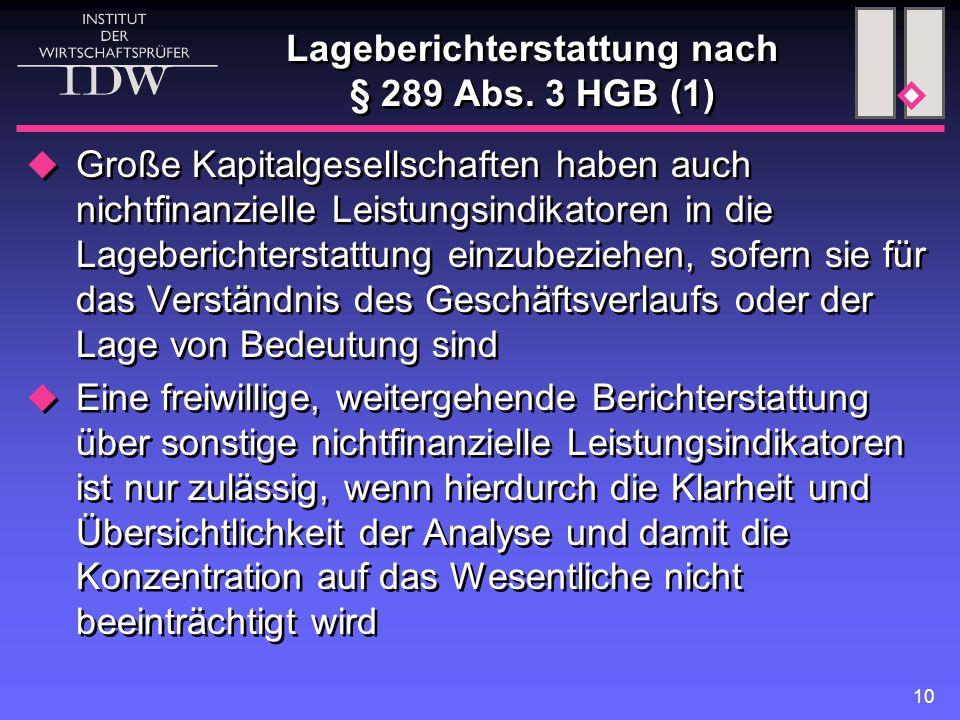 10 Lageberichterstattung nach § 289 Abs.