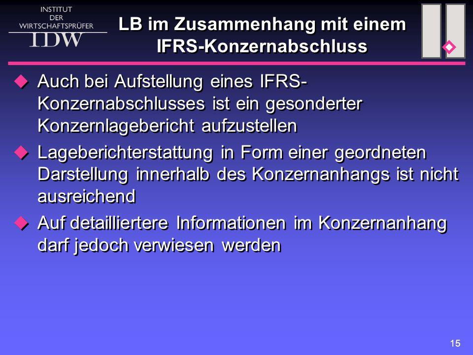 15 LB im Zusammenhang mit einem IFRS-Konzernabschluss  Auch bei Aufstellung eines IFRS- Konzernabschlusses ist ein gesonderter Konzernlagebericht aufzustellen  Lageberichterstattung in Form einer geordneten Darstellung innerhalb des Konzernanhangs ist nicht ausreichend  Auf detailliertere Informationen im Konzernanhang darf jedoch verwiesen werden  Auch bei Aufstellung eines IFRS- Konzernabschlusses ist ein gesonderter Konzernlagebericht aufzustellen  Lageberichterstattung in Form einer geordneten Darstellung innerhalb des Konzernanhangs ist nicht ausreichend  Auf detailliertere Informationen im Konzernanhang darf jedoch verwiesen werden