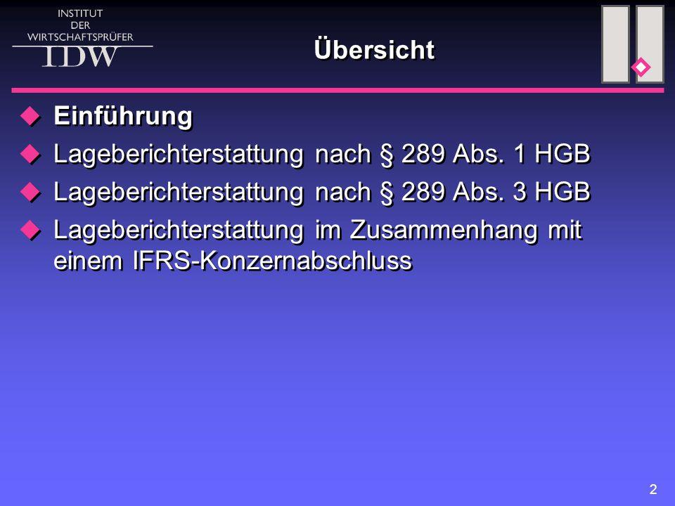 2 Übersicht  Einführung  Lageberichterstattung nach § 289 Abs.