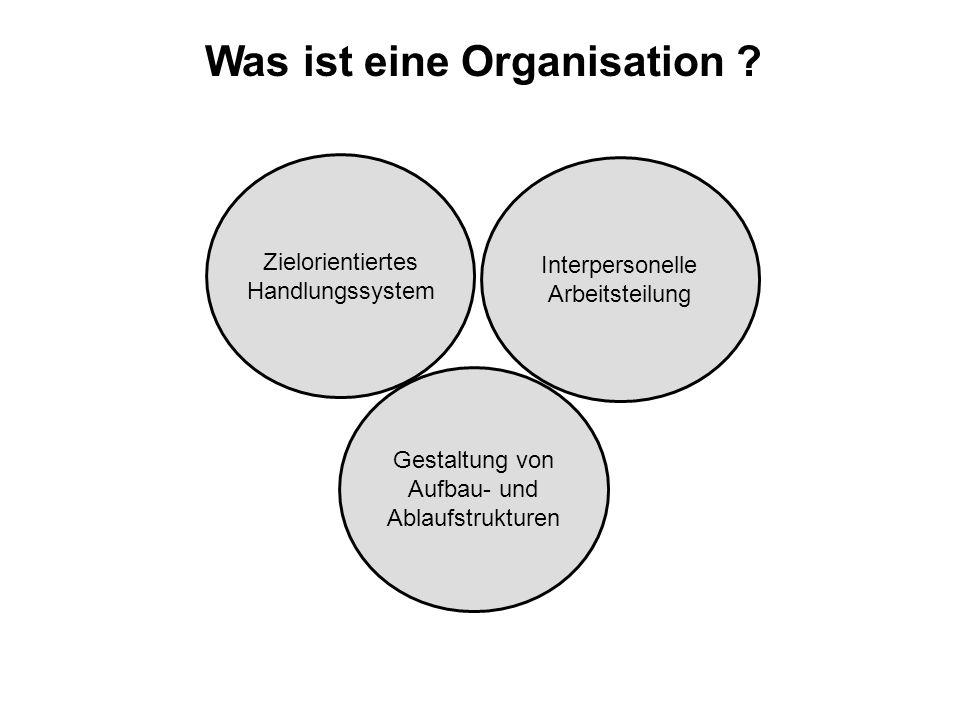 Was ist eine Organisation ? Zielorientiertes Handlungssystem Gestaltung von Aufbau- und Ablaufstrukturen Interpersonelle Arbeitsteilung