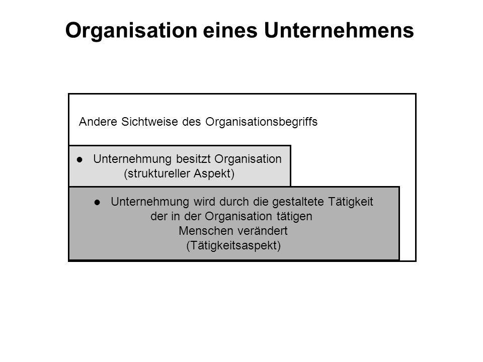 Organisation eines Unternehmens Andere Sichtweise des Organisationsbegriffs l Unternehmung wird durch die gestaltete Tätigkeit der in der Organisation