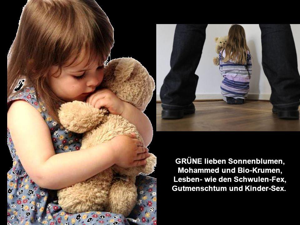 GRÜNE lieben Sonnenblumen, Mohammed und Bio-Krumen, Lesben- wie den Schwulen-Fex, Gutmenschtum und Kinder-Sex.