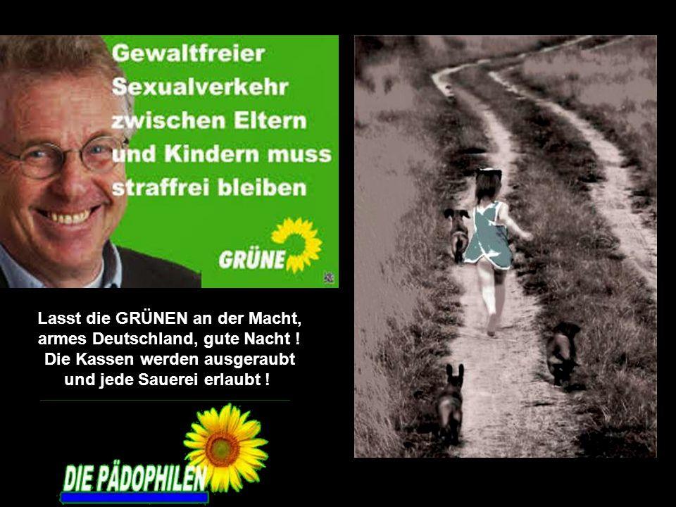 Lasst die GRÜNEN an der Macht, armes Deutschland, gute Nacht ! Die Kassen werden ausgeraubt und jede Sauerei erlaubt !