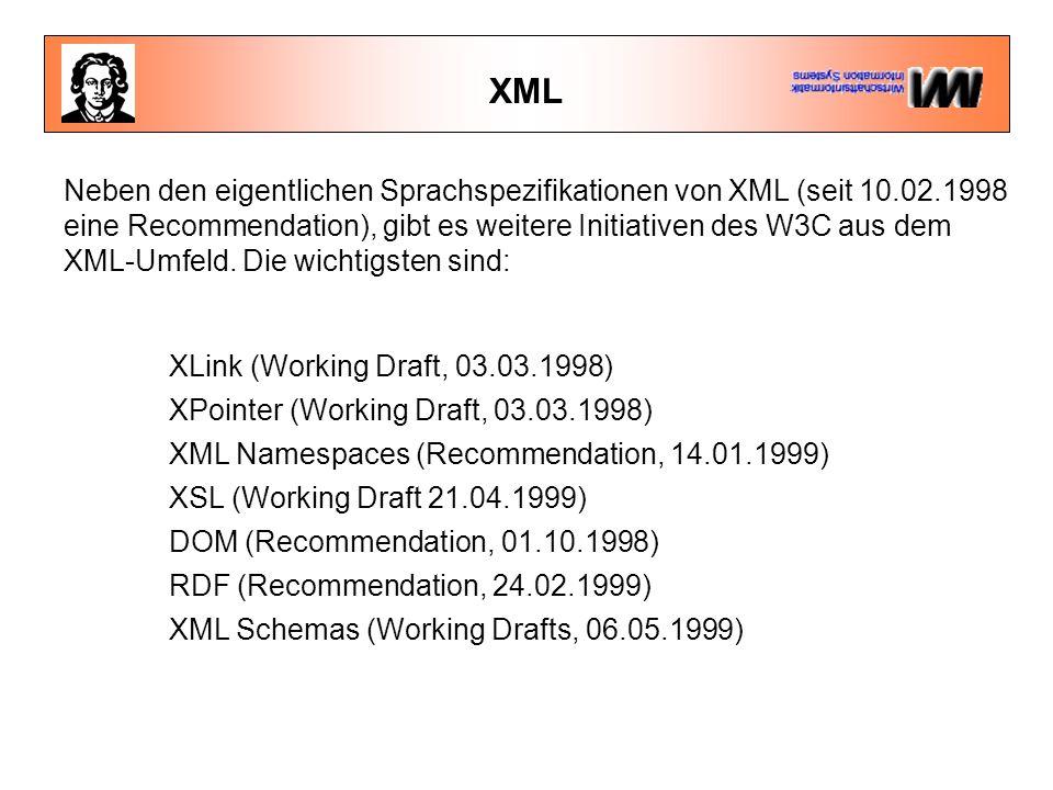 XML Neben den eigentlichen Sprachspezifikationen von XML (seit 10.02.1998 eine Recommendation), gibt es weitere Initiativen des W3C aus dem XML-Umfeld.