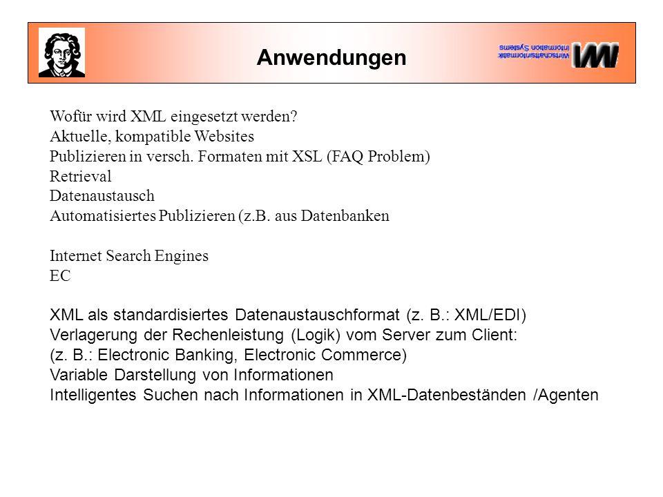 Anwendungen Wofür wird XML eingesetzt werden. Aktuelle, kompatible Websites Publizieren in versch.