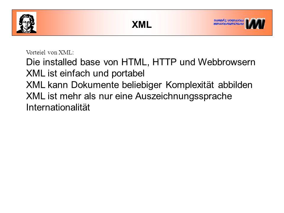 XML Vorteiel von XML: Die installed base von HTML, HTTP und Webbrowsern XML ist einfach und portabel XML kann Dokumente beliebiger Komplexität abbilden XML ist mehr als nur eine Auszeichnungssprache Internationalität