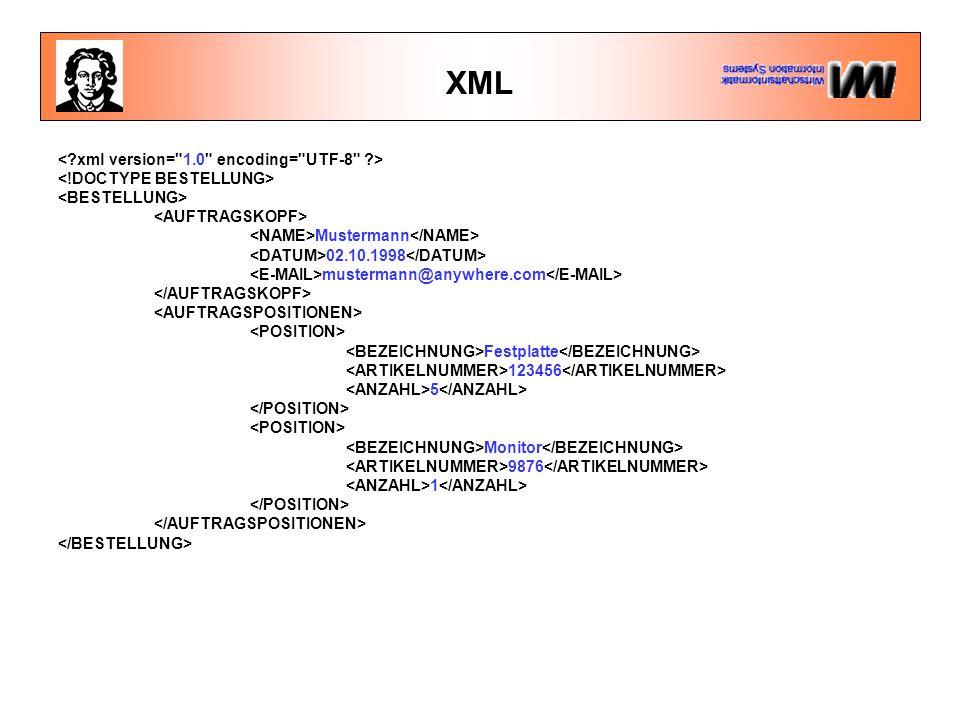 XML Mustermann 02.10.1998 mustermann@anywhere.com Festplatte 123456 5 Monitor 9876 1