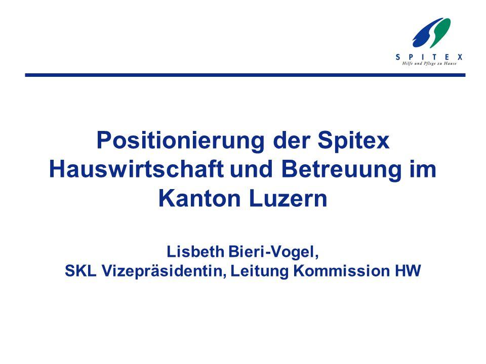 Positionierung der Spitex Hauswirtschaft und Betreuung im Kanton Luzern Lisbeth Bieri-Vogel, SKL Vizepräsidentin, Leitung Kommission HW