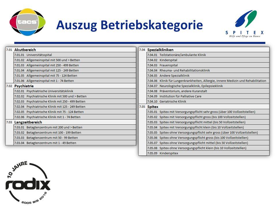 Auszug Betriebskategorie
