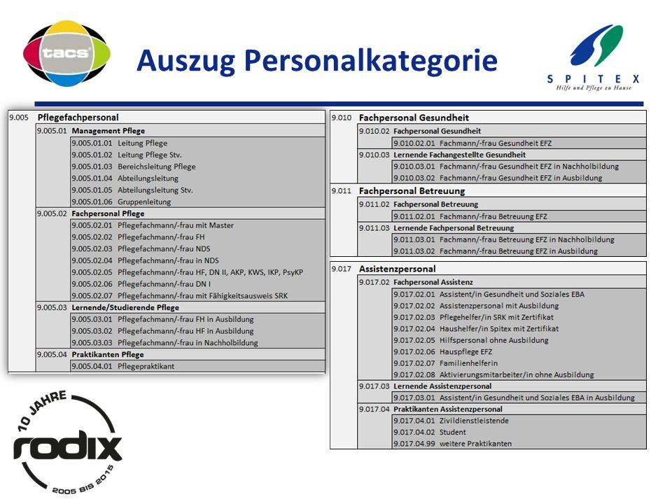 Auszug Personalkategorie