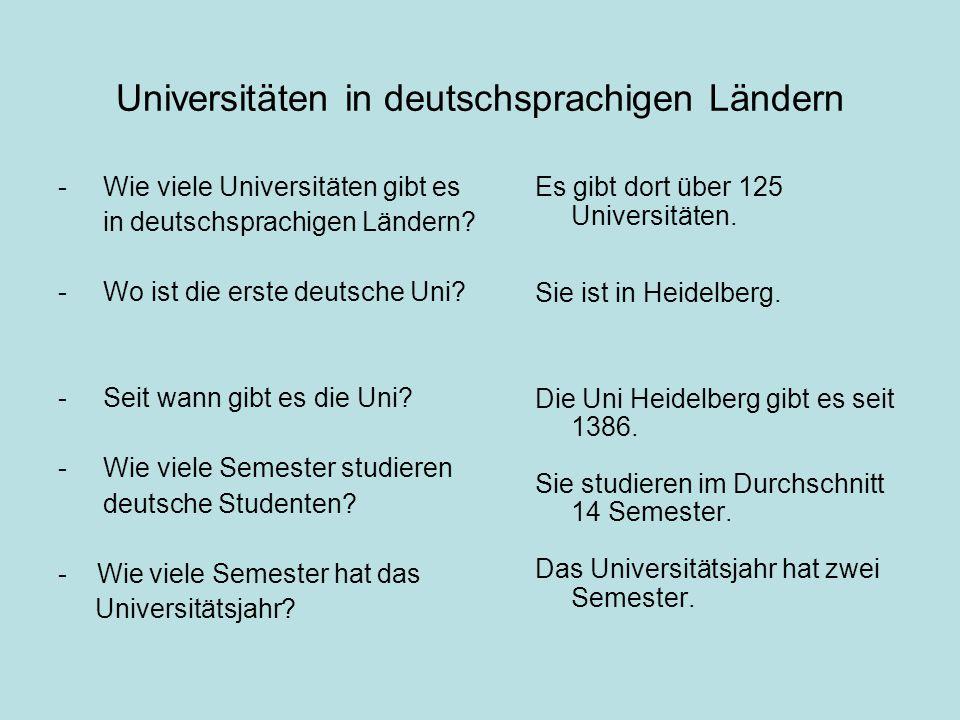 Universitäten in deutschsprachigen Ländern - Wie viele Universitäten gibt es in deutschsprachigen Ländern.