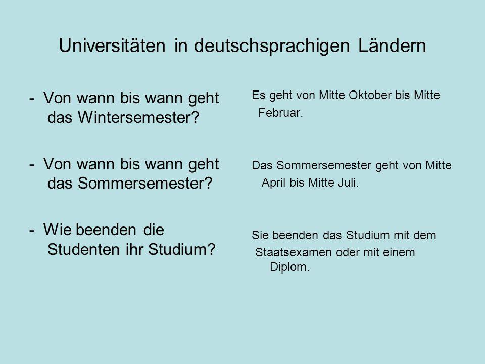 Universitäten in deutschsprachigen Ländern - Von wann bis wann geht das Wintersemester.