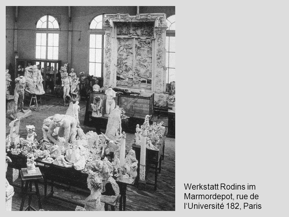 Auguste Rodin - Entwurf zum Höllentor mit acht Relieffeldern; Kohle, grau laviert, Gouache; 55,7 x 44,7cm Auguste Rodin - Entwurf zum Höllentor; Bleistift, Feder und braune Tusche; 30,5 x 15,2 cm