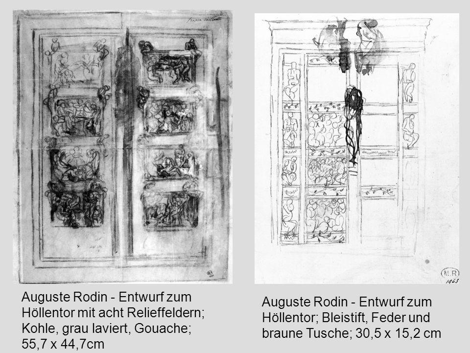 """Eugène Carrière - Plakat für die Ausstellung Auguste Rodin, 1900 Eugène Druet; Auguste Rodin - Die Bürger von Calais im Pavillon de l Alma (im Hintergrund rechts """"Der Denker ) 1884-89; Photographie, 29.8 x 39.5cm"""