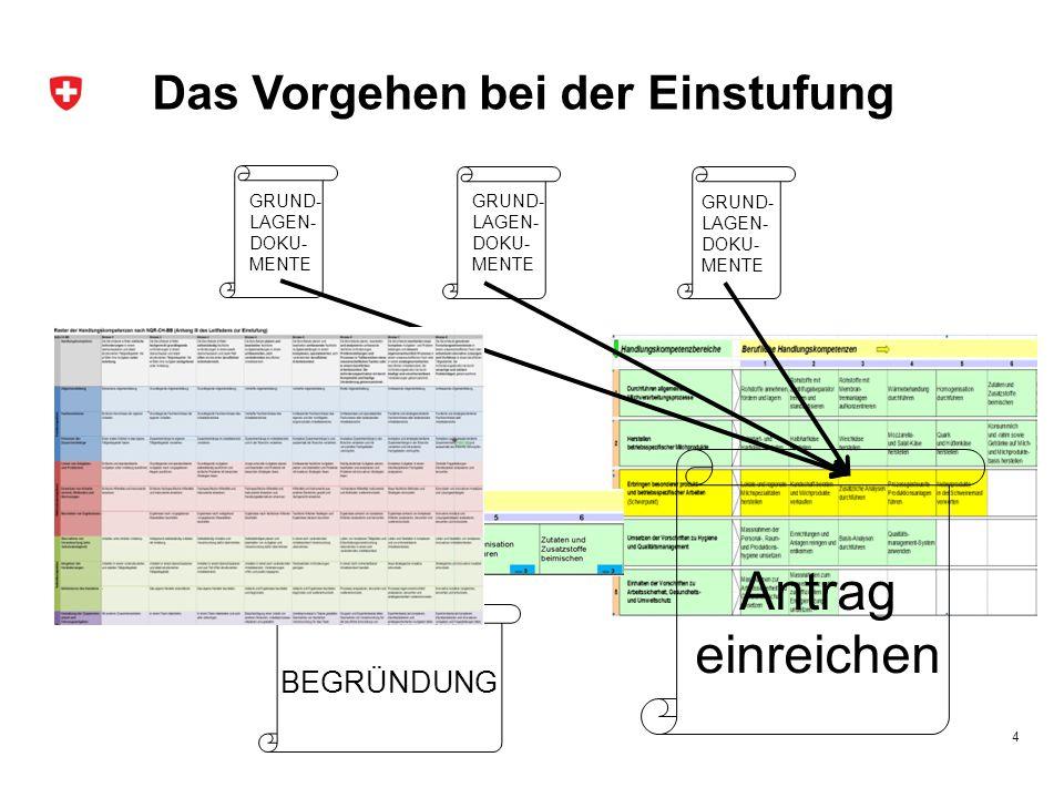 Das Vorgehen bei der Einstufung 4 GRUND- LAGEN- DOKU- MENTE BEGRÜNDUNG Antrag einreichen