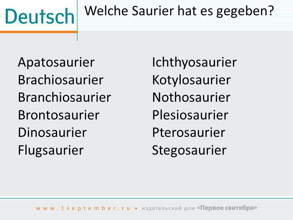 Welche Saurier hat es gegeben? Apatosaurier Brachiosaurier Branchiosaurier Brontosaurier Dinosaurier Flugsaurier Ichthyosaurier Kotylosaurier Nothosau