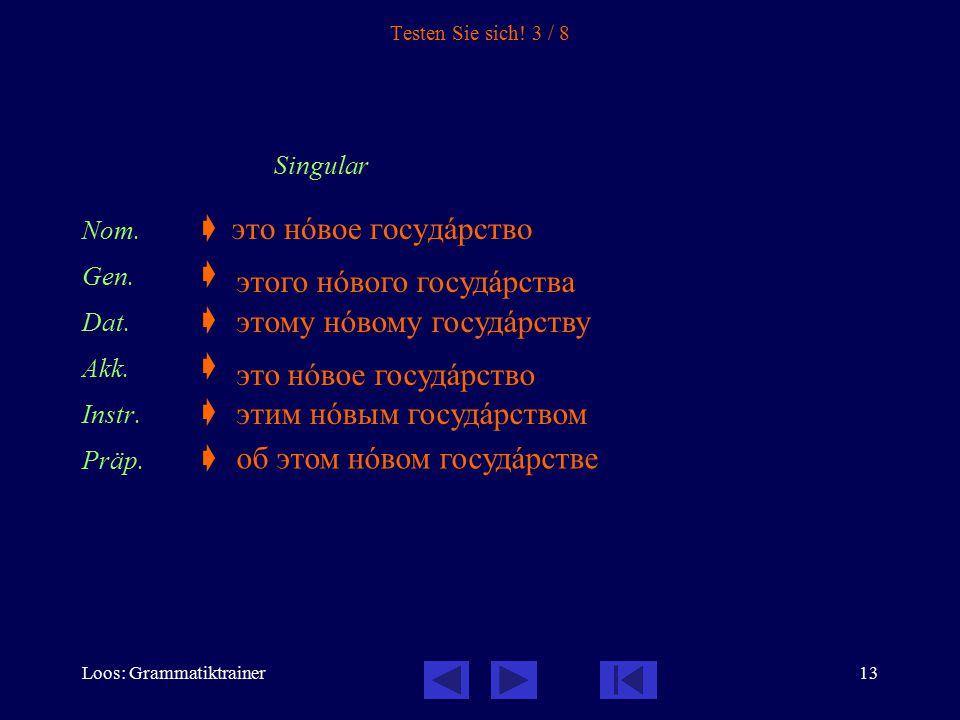 Loos: Grammatiktrainer13 Testen Sie sich! 3 / 8 Singular Nom.  это нîвое госудàрство Gen.  Dat.  Akk.  Instr.  Präp.  этого нîвого госудàрства э