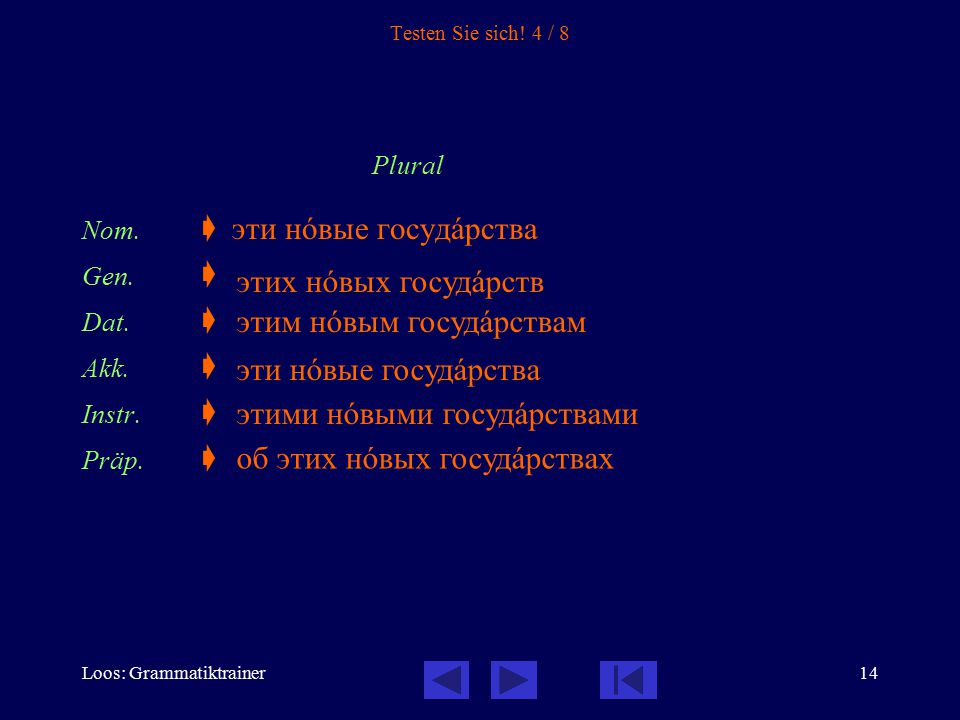 Loos: Grammatiktrainer14 Testen Sie sich! 4 / 8 Plural Nom.  эти нîвые госудàрства Gen.  Dat.  Akk.  Instr.  Präp.  этих нîвых госудàрств этим н