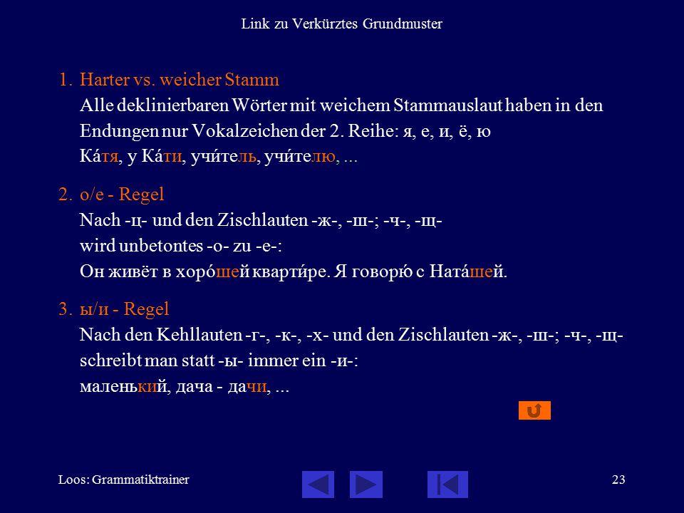 Loos: Grammatiktrainer23 Link zu Verkürztes Grundmuster 1.Harter vs. weicher Stamm Alle deklinierbaren Wörter mit weichem Stammauslaut haben in den En