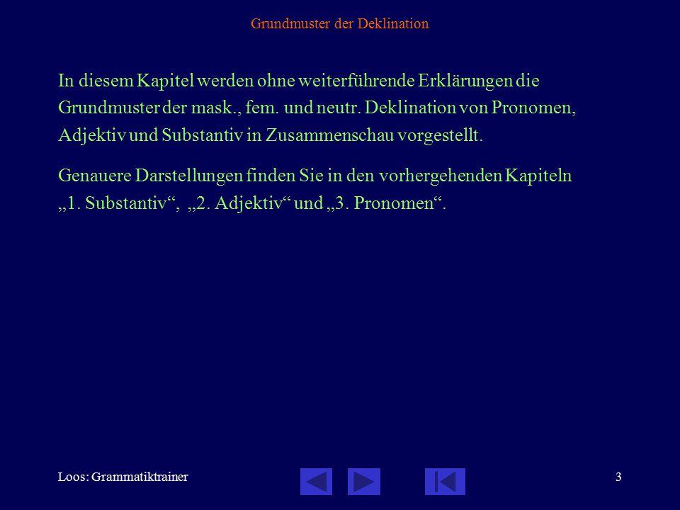 Loos: Grammatiktrainer4 Überblick: mask., neutr. Singular