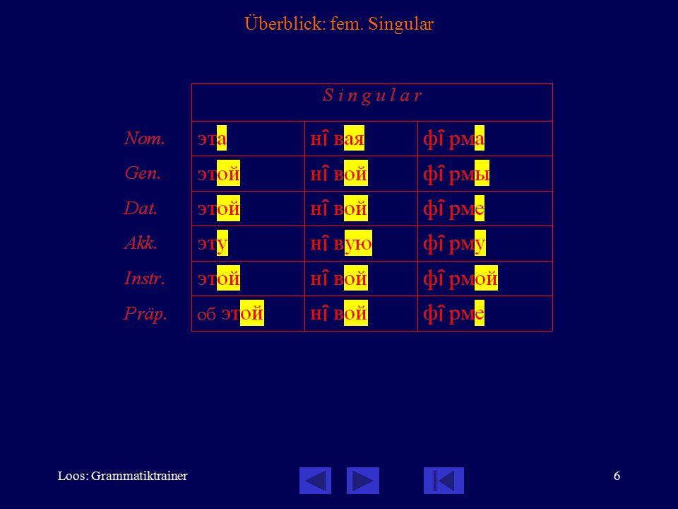 Loos: Grammatiktrainer7 Überblick: fem. Plural