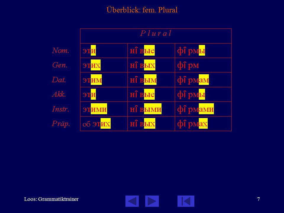 Loos: Grammatiktrainer8 Überblick: fem. Singular -ь