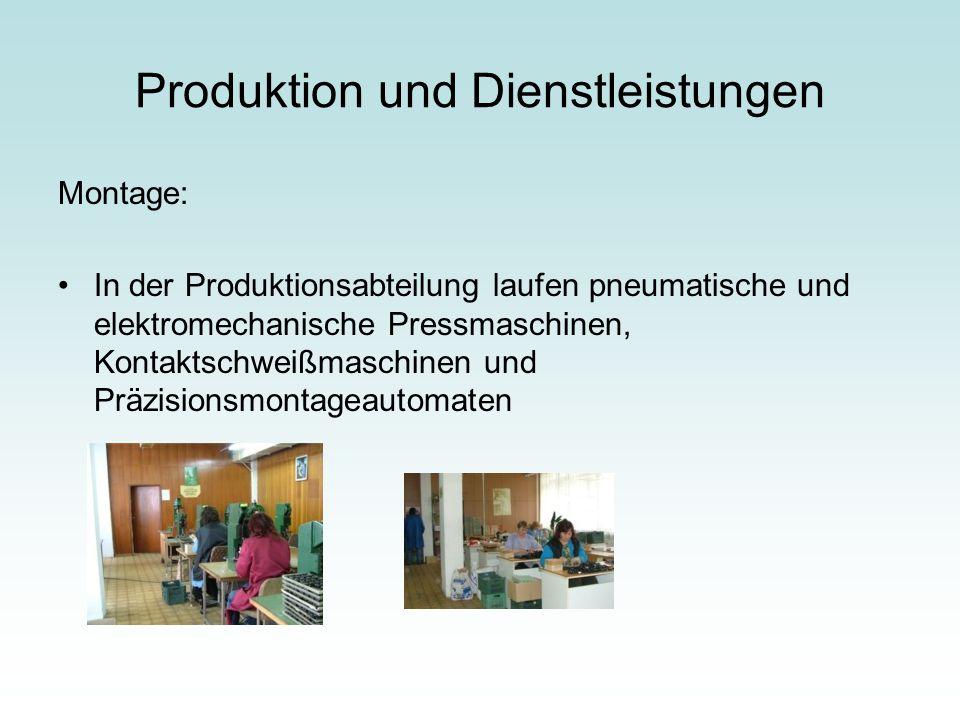 Produktion und Dienstleistungen Montage: In der Produktionsabteilung laufen pneumatische und elektromechanische Pressmaschinen, Kontaktschweißmaschine