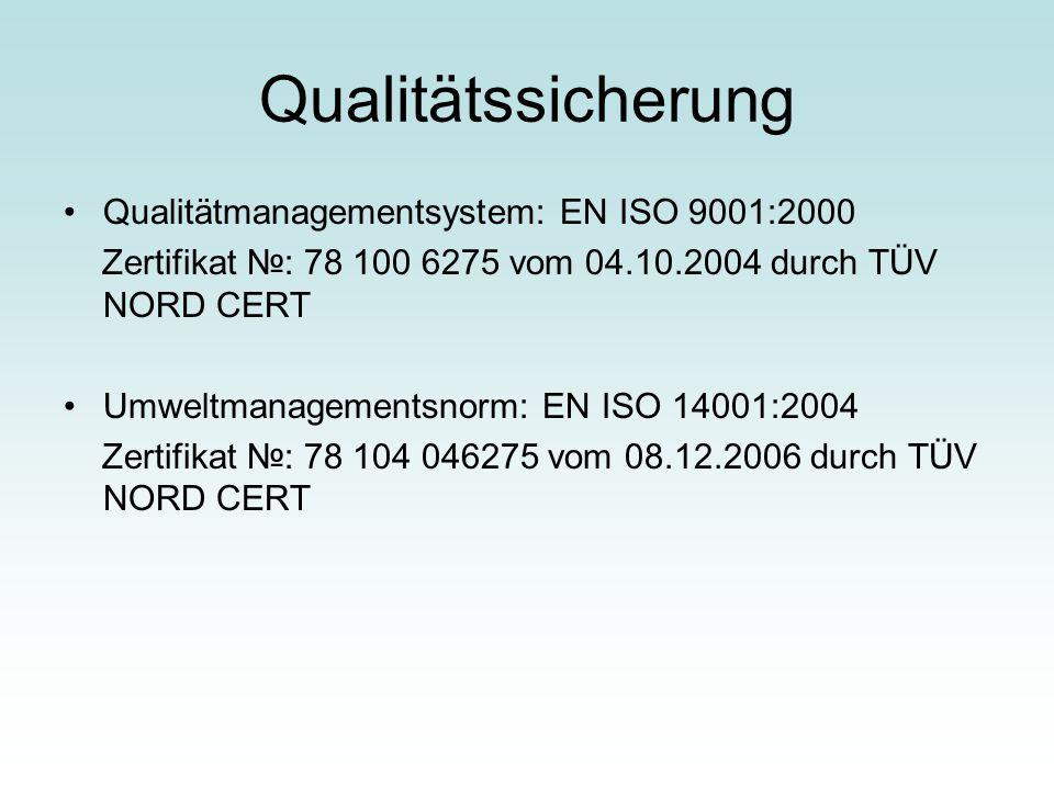 Qualitätssicherung Qualitätmanagementsystem: EN ISO 9001:2000 Zertifikat №: 78 100 6275 vom 04.10.2004 durch TÜV NORD CERT Umweltmanagementsnorm: EN I