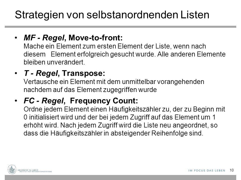 Strategien von selbstanordnenden Listen MF - Regel, Move-to-front: Mache ein Element zum ersten Element der Liste, wenn nach diesem Element erfolgreic