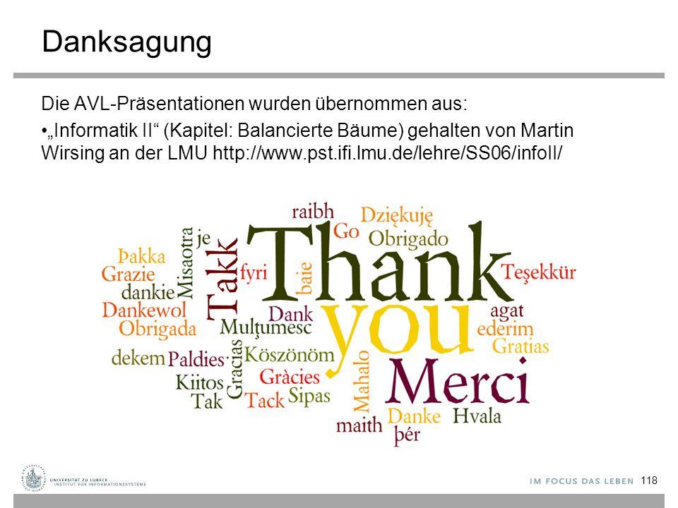 """Danksagung Die AVL-Präsentationen wurden übernommen aus: """"Informatik II (Kapitel: Balancierte Bäume) gehalten von Martin Wirsing an der LMU http://www.pst.ifi.lmu.de/lehre/SS06/infoII/ 118"""